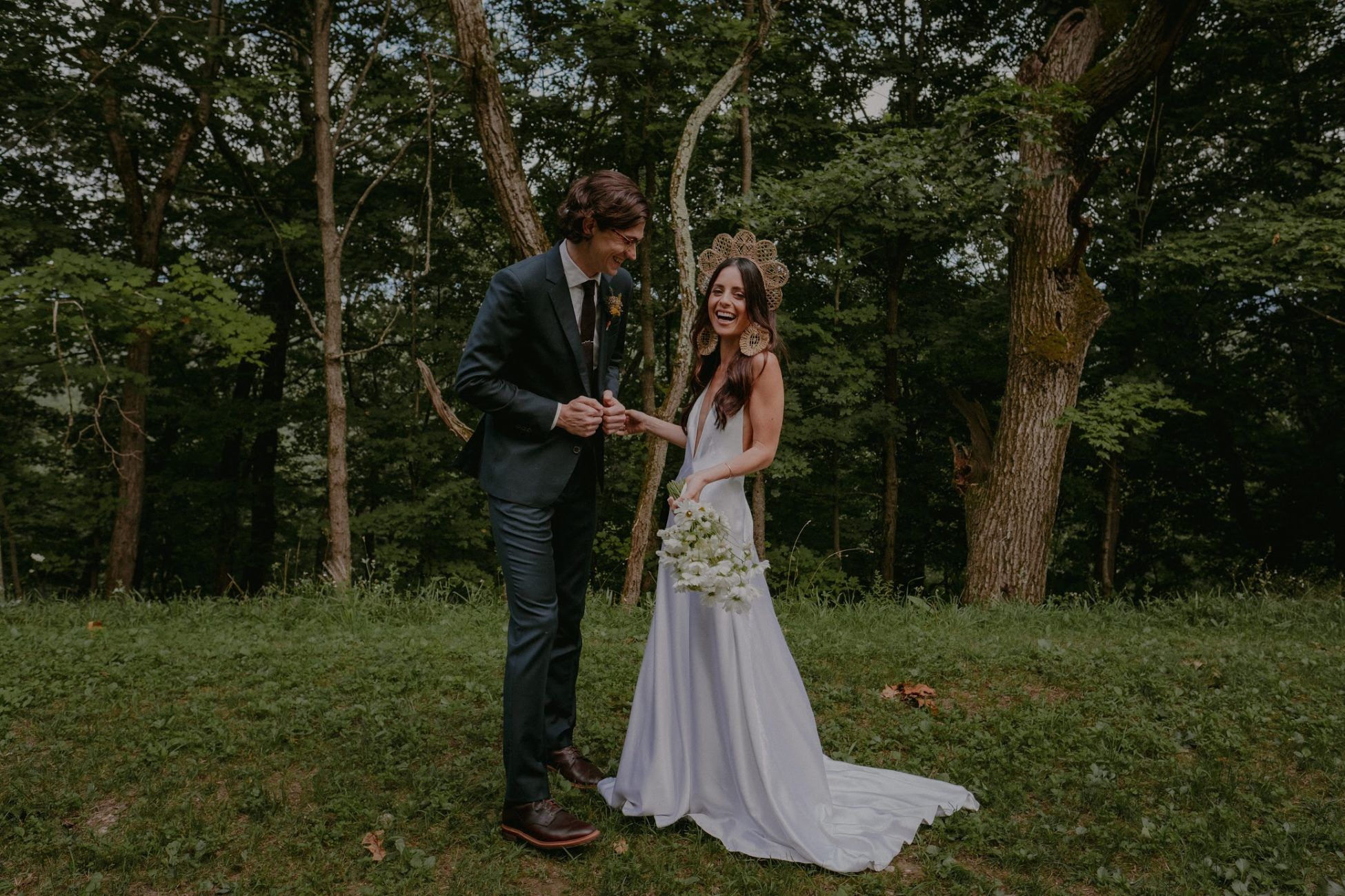 Hudson Valley Wedding Flowers in the Catskills Bride and Groom