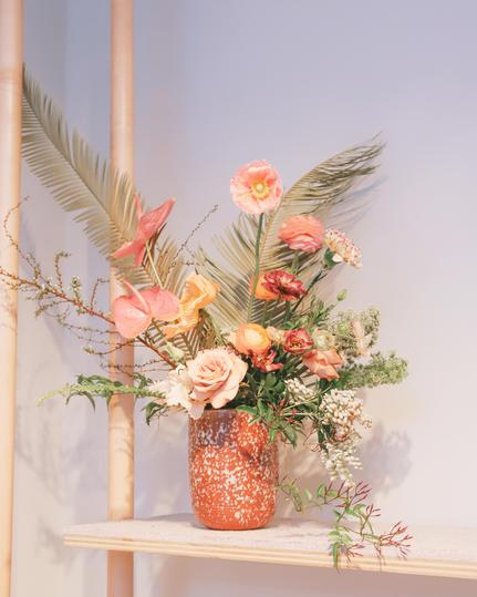 Soft, Feminine Florals with a touch of tropical at an nyc shoe designer showroom for Summer 2019 Collection Loeffler Randall