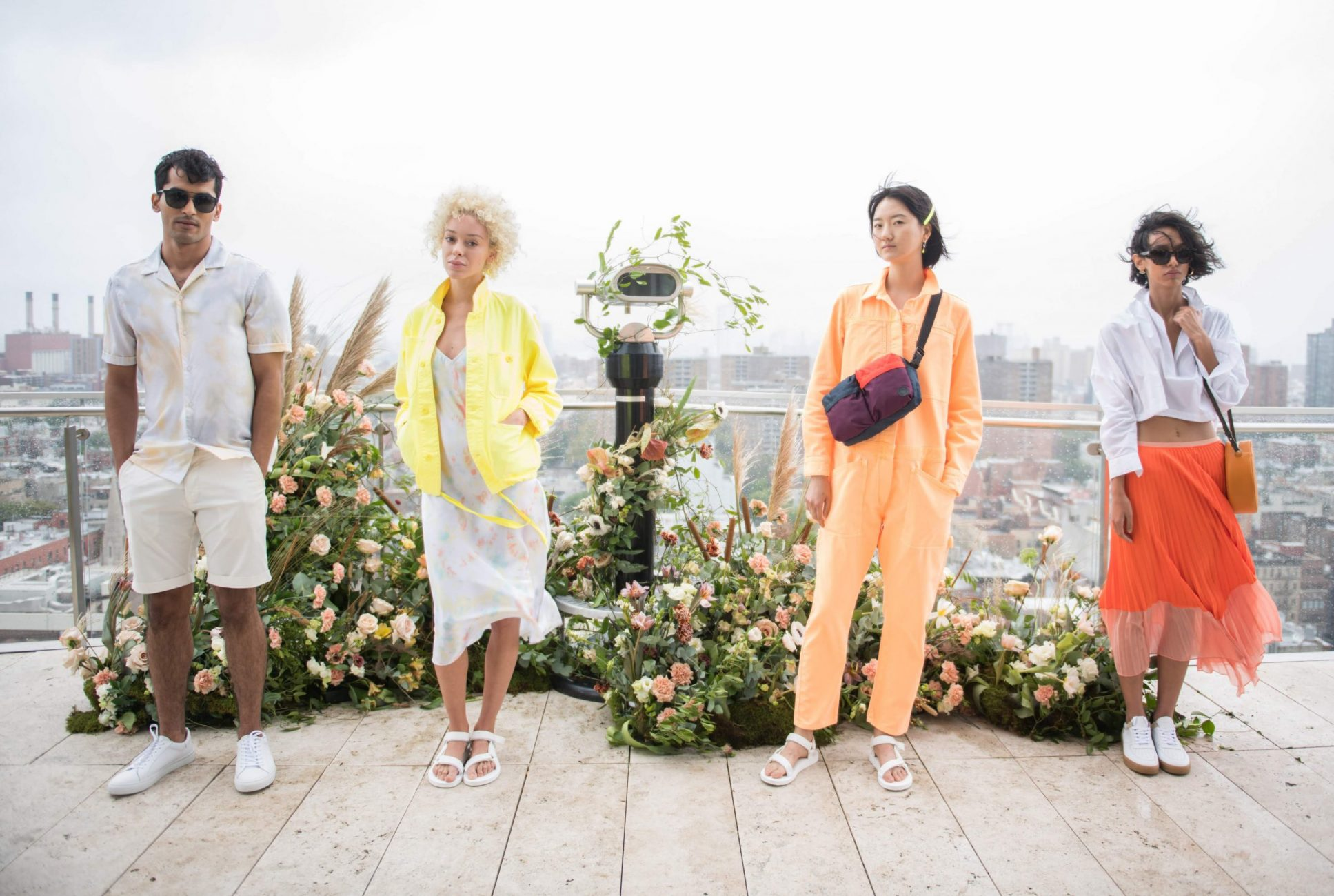 NYC fashion models on standard hotel for NYFW with flowers by hudson botanica